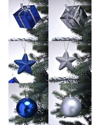 Set de décoration de Noël, bleu/argent pour sapin 180cm