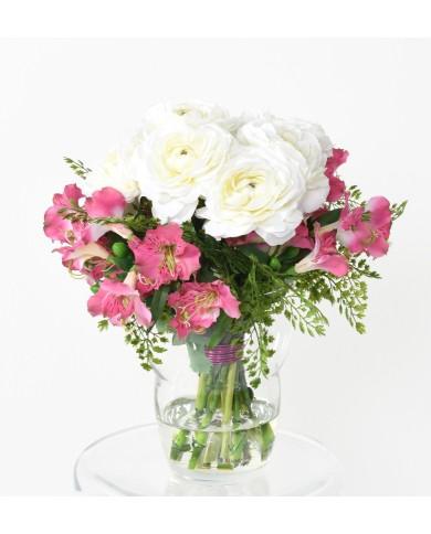 Künstlicher Blumenstrauss rosa-weiss, ca. 35cm