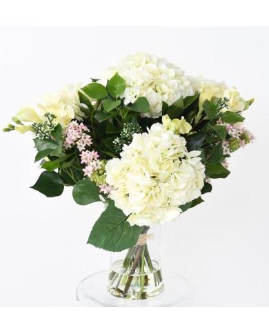 Künstlicher Blumenstraus mit Hortensien und Efeu, ca. 50cm