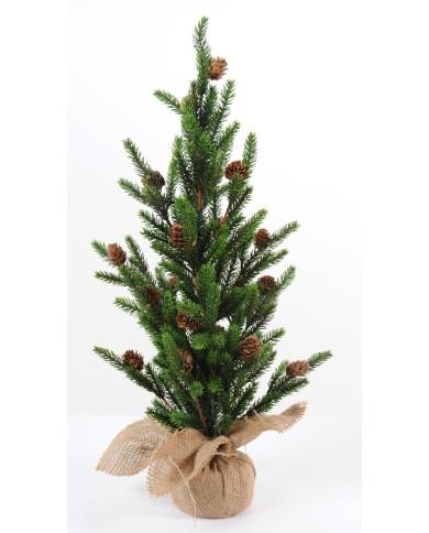 Künstliches Weihnachtsbäumchen mit Zapfen -  im Jutesack, ca. 60cm