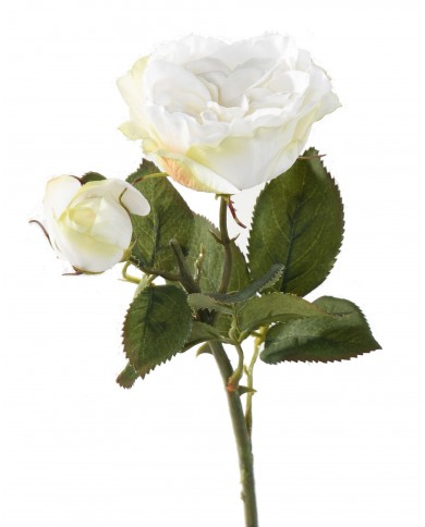 Künstliche Rose weiss, ca. 43cm