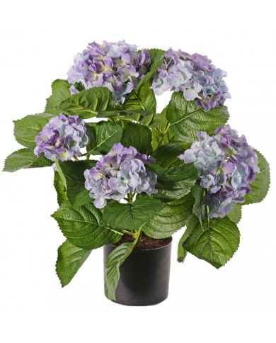 Kunstpflanze Hortensie Deluxe blau blühend ca. 36cm